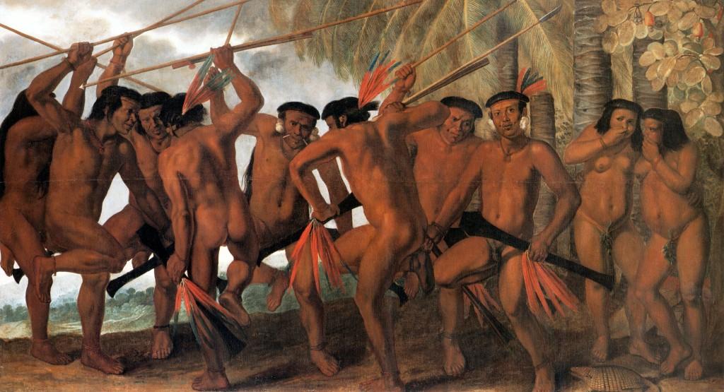 Quadro 'Dança dos tapuias' retrata o povo que, em 1687, lutou na Guerra das Tapuias, contra os portugueses, na Paraíba